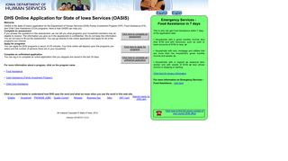 DHS Online Application for State of Iowa Services (OASIS) - OASIS0100