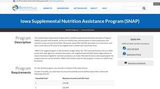Iowa Supplemental Nutrition Assistance Program (SNAP)   Benefits.gov