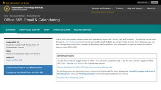 Office 365: Email & Calendaring   Information Technology Services