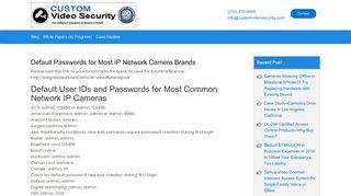 Default Passwords for Most IP Network Camera Brands - case-studies