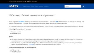 IP Cameras: Default username and password - Lorex Support