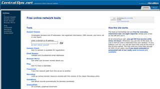 Free online network tools - traceroute, nslookup, dig, whois lookup ...