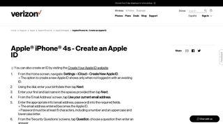 Apple iPhone 4s - Create an Apple ID | Verizon Wireless