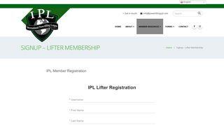 Signup – Lifter Membership – IPL Powerlifting