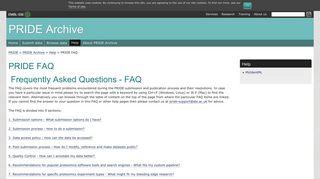 PRIDE FAQ < PRIDE Archive Help Overview < PRIDE Help < Pride ...