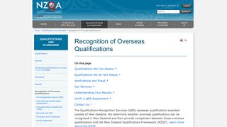 Recognition of Overseas Qualifications » NZQA