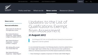Updates to the List of Qualifications Exempt from Assessment ...