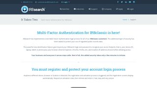IRBsearch   It Takes Two - Multi-Factor Authentication