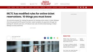 IRCTC has modified rules for online ticket reservations. 10 things you ...
