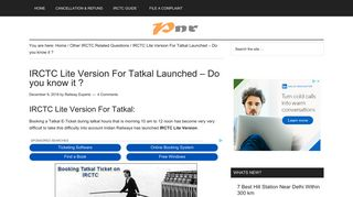 IRCTC Lite Version For Tatkal - Do you know it? **{Updated}** - PNR