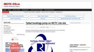 Tatkal bookings jump on IRCTC Lite site - IRCTC - Indian Railways