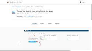 Tatkal for Sure: Etrain auto Tatkal Booking - Google Chrome