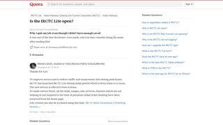 Is the IRCTC Lite open? - Quora