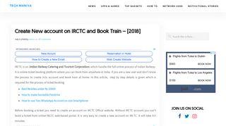 Create New account on IRCTC and Book Train - [2018] - Tech Maniya