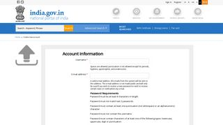 Create new account | National Portal of India
