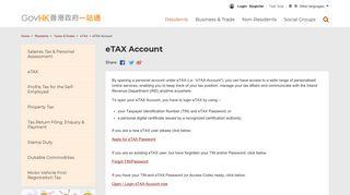 GovHK: eTAX Account