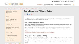 GovHK: Completion and Filing of Return