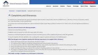 Complaints and Grievances - General Insurance Council