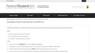 Simple Steps to Transfer Tax Information Into Your FAFSA Form Text ...