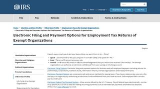 Electronic Filing and Payment Options for Employment Tax ... - IRS.gov