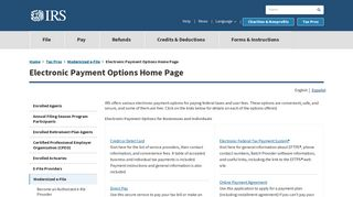 Electronic Payment Options Home Page | Internal Revenue Service