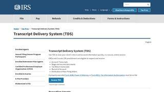 Transcript Delivery System (TDS)   Internal Revenue Service - IRS.gov