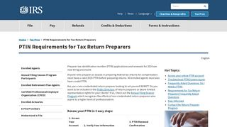 PTIN Requirements for Tax Return Preparers   Internal Revenue Service