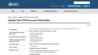 Update Your PTIN Account Information   Internal Revenue Service