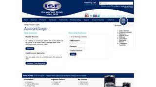 Account Login - ISF Coatings