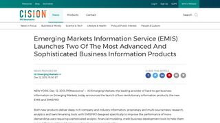Emerging Markets Information Service (EMIS) Launches Two Of The ...