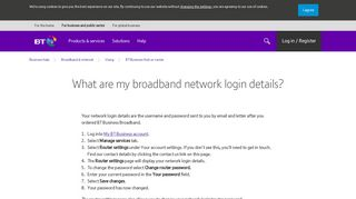 What are my broadband network login details? | BT Business