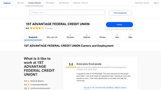 1ST ADVANTAGE FEDERAL CREDIT UNION Careers and ... - Indeed