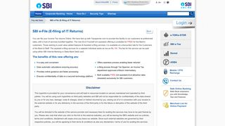 SBI e-File (E-filing of IT Returns) - State Bank of India - Personal Banking