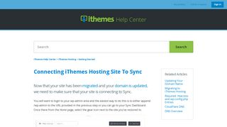 Connecting iThemes Hosting Site To Sync – iThemes Help Center
