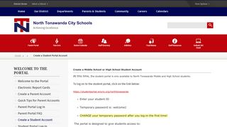 Welcome to the Portal / Create a Student Portal Account