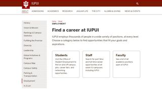 Employment: About: IUPUI