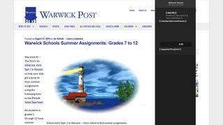 Warwick Schools Summer Assignments: Grades 7 to 12   WarwickPost ...
