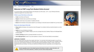 Student Access - IYWT Web - It's Your World, Travel!