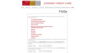 FAQs - JCPenney Online Credit Center