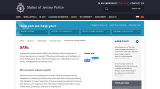 States of Jersey Police - Suspicious activity reports