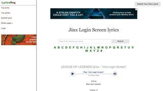 LEAGUE OF LEGENDS : Jinx Login Screen lyrics