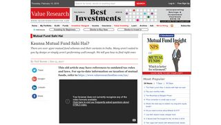 Kaunsa Mutual Fund Sahi Hai? - Value Research: The Complete ...