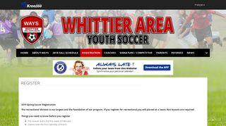 Register   Whittier Area Youth Soccer - Kreezee.com