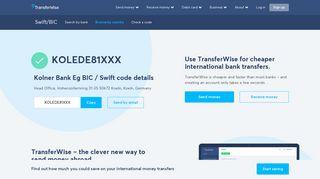 KOLEDE81XXX BIC / SWIFT Code - Kolner Bank Eg Germany ...