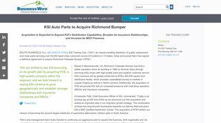 KSI Auto Parts to Acquire Richmond Bumper   Business Wire