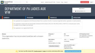 Department of PA Ladies Aux VFW - GuideStar Profile