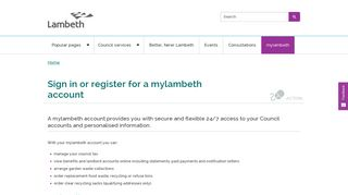 Sign in or register for a mylambeth account   Lambeth Council