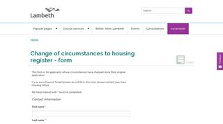 Change of circumstances to housing register - form   Lambeth Council