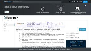 windows 7 - How do I remove Lenovo Veriface from the login screen ...