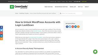 How to Unlock WordPress Accounts with Login LockDown - GreenGeeks
